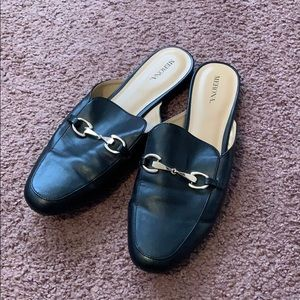 Slip On Loafers with Gold Buckle